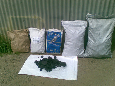 Some of the various packaging and sample charcoal
